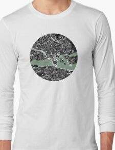 Stockholm city map engraving Long Sleeve T-Shirt