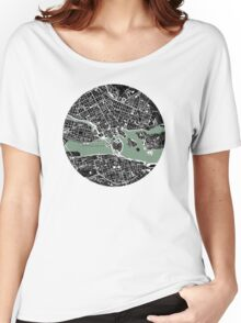 Stockholm city map engraving Women's Relaxed Fit T-Shirt