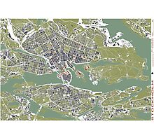 Stockholm city map engraving Photographic Print
