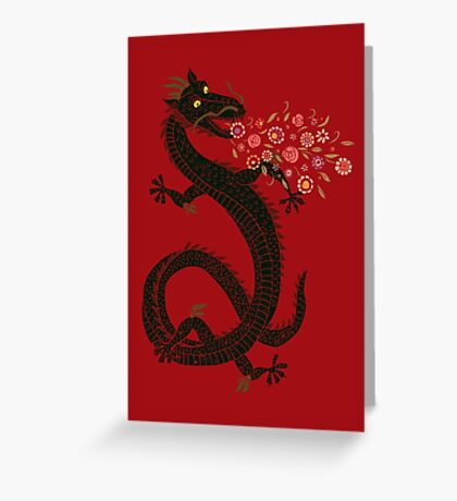 Dragon, Flower Breathing Greeting Card