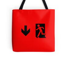 Running Man Emergency Exit Sign, Left Hand Down Arrow Tote Bag