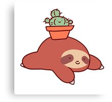 Sloth and Cactus Canvas Print