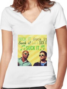 """Psych """"Suck It"""" Women's Fitted V-Neck T-Shirt"""