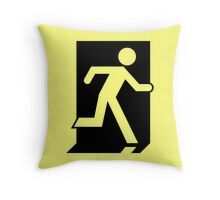 Emergency Exit Sign, with the Running Man Throw Pillow
