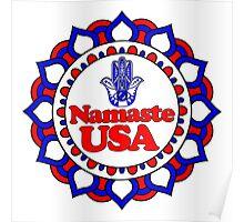 NAMASTE USA HAMSA PEACE YOGA HAND Poster