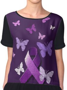 Purple Awareness Ribbon with Butterflies  Chiffon Top