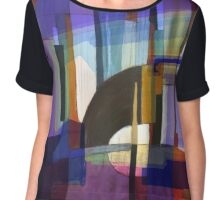 """Blue & Brown Abstract"" Chiffon Top"