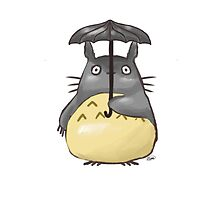 Totoro Watercolor Under an Umbrella by NatMit