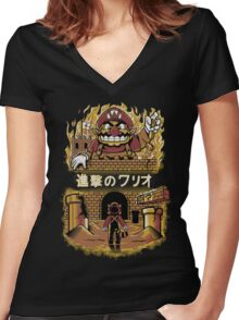 ATTACK ON WARIO Women's Fitted V-Neck T-Shirt