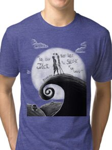 Jack And Sally Blink - 182 Pen Drawing Tri-blend T-Shirt
