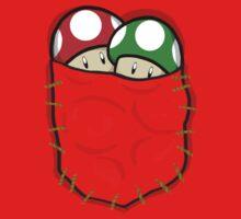 Red Green Mario Mushrooms In Pocket One Piece - Short Sleeve