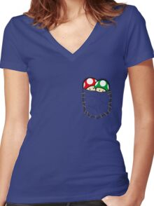 Red Green Mario Mushrooms In Pocket Women's Fitted V-Neck T-Shirt