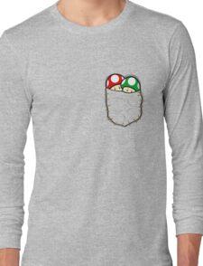 Red Green Mario Mushrooms In Pocket Long Sleeve T-Shirt