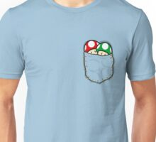 Red Green Mario Mushrooms In Pocket Unisex T-Shirt