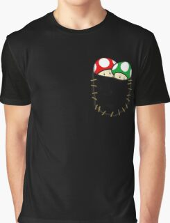 Red Green Mario Mushrooms In Pocket Graphic T-Shirt