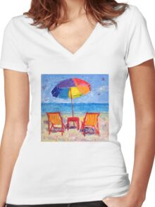 Meet you at the beach! Women's Fitted V-Neck T-Shirt