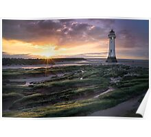 New Brighton Lighthouse Sunset, Merseyside Poster