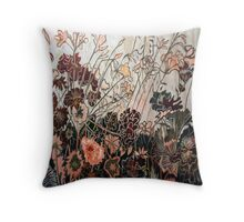 Woodcut Flower in Orange/Red Throw Pillow