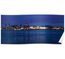 Liverpool Skyline at Night Poster