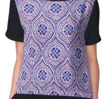 Purple, Blue, White Traditional Ogee Pattern Chiffon Top