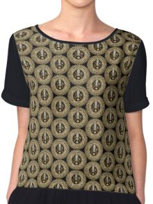 Steampunk Clock Face in Sepia Chiffon Top