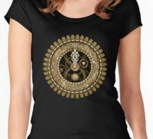Steampunk Vintage Clock Face in Sepia Women's Fitted Scoop T-Shirt