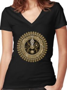Steampunk Clock Face in Sepia Women's Fitted V-Neck T-Shirt