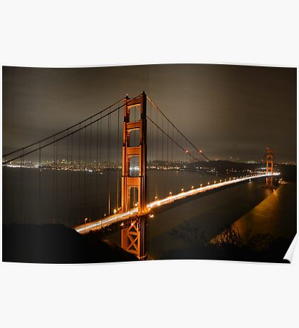 Golden Gate Bridge at night Poster