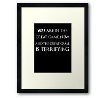 Game of thrones Tyrion Lannister the great game Framed Print