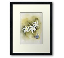 Star Jasmine with Lavender Blue Butterfly Framed Print