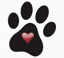 Dog Lover Paw Print with Heart Shirt Stickers Poster Pillows Cases by 8675309