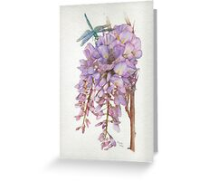 Wisteria Flower with Blue and Green Dragonfly Greeting Card