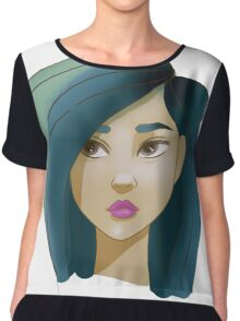 Blue haired girl Chiffon Top