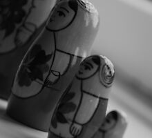 Four babushka ladies in black and white by HannahLstaples