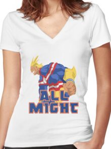 Boku no Hero Academia (My Hero Academia) - All Might Women's Fitted V-Neck T-Shirt
