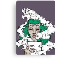 Burnout - Green haired lady covered in smoke  Canvas Print