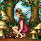 The Woodland Fairy with her Ladybug by TASIllustration