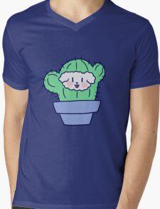 Fluffy Dog Face Cactus Mens V-Neck T-Shirt