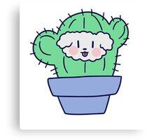 Fluffy Dog Face Cactus Canvas Print