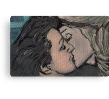 Kiss between Edith Piaf and Marlene Dietrich Canvas Print