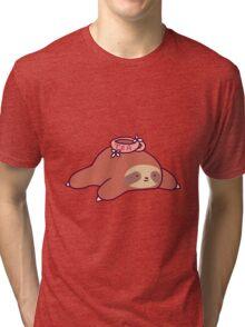 Tea Flower Sloth Tri-blend T-Shirt