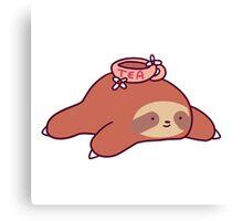 Tea Flower Sloth Canvas Print
