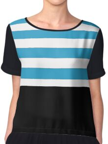 Black with blue and white stripes Chiffon Top