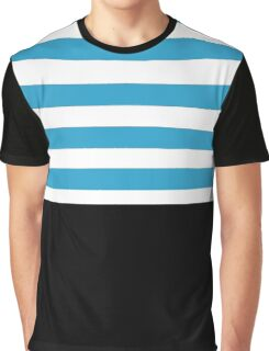 Black with blue and white stripes Graphic T-Shirt