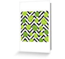 Summer tropical Monstera tree leaves pattern Greeting Card