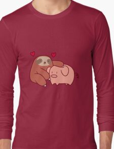 Sloth Loves Pig Long Sleeve T-Shirt