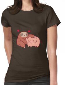 Sloth Loves Pig Womens Fitted T-Shirt
