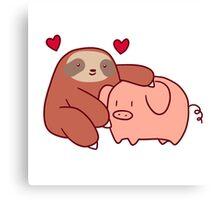 Sloth Loves Pig Canvas Print