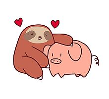 Sloth Loves Pig Photographic Print