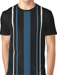 Black Blue and White Stripes Graphic T-Shirt